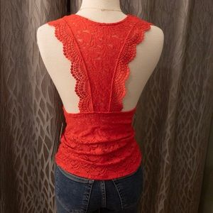 Free People Tops - Free People Red All Over Lace Tank. XS. NWT.
